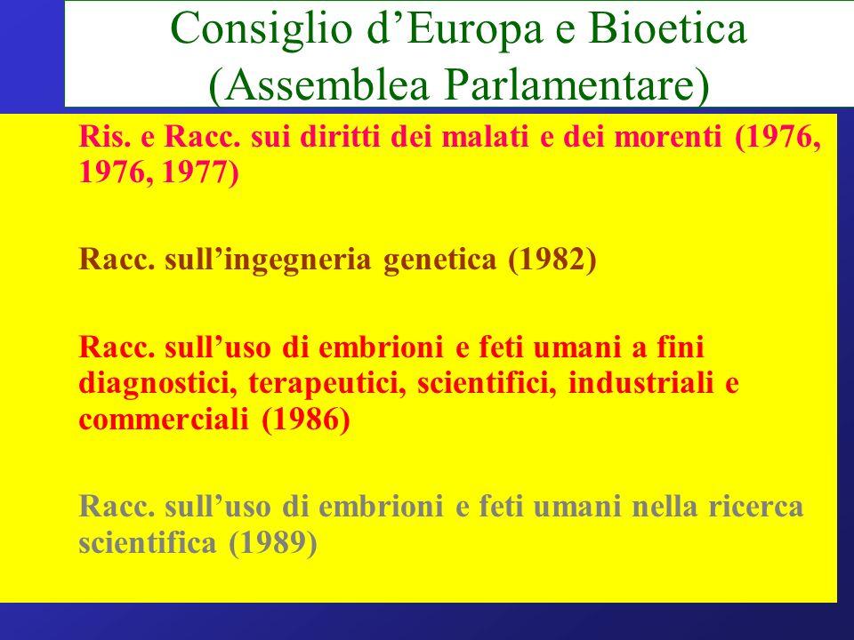 Consiglio d'Europa e Bioetica (Assemblea Parlamentare)