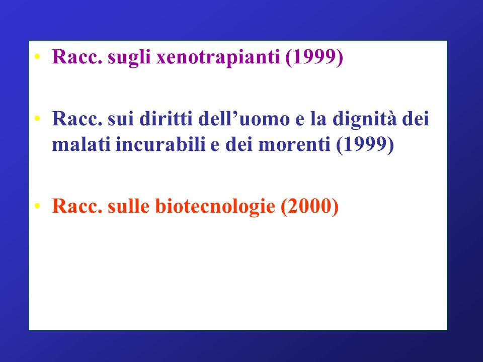 Racc. sugli xenotrapianti (1999)