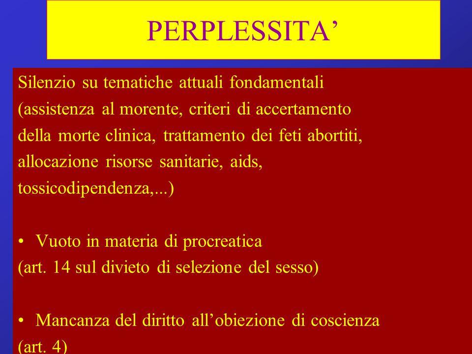 PERPLESSITA' Silenzio su tematiche attuali fondamentali