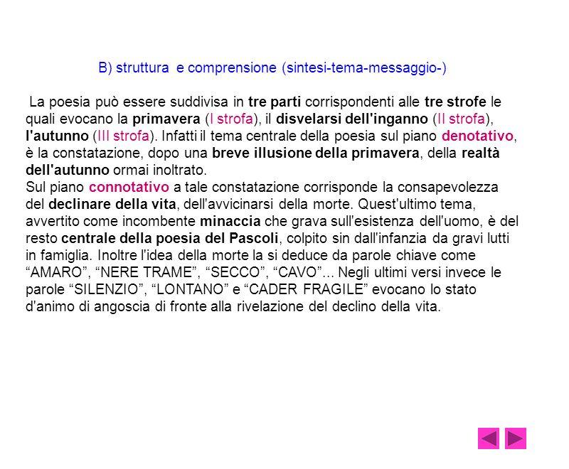 B) struttura e comprensione (sintesi-tema-messaggio-)
