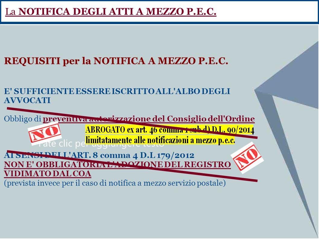 La NOTIFICA DEGLI ATTI A MEZZO P.E.C.