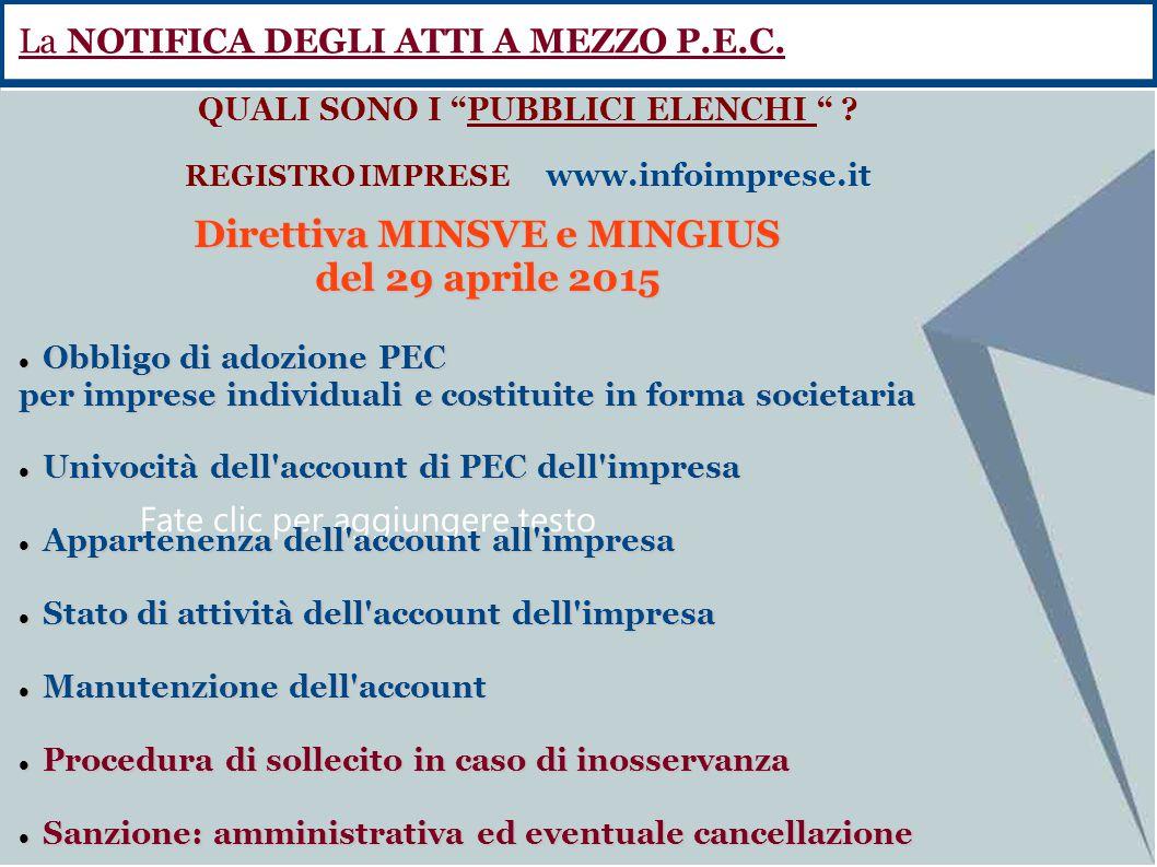 Direttiva MINSVE e MINGIUS del 29 aprile 2015