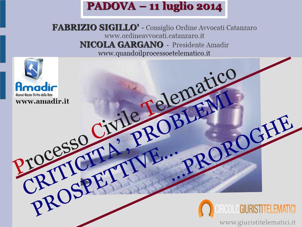 Processo Civile Telematico CRITICITA', PROBLEMI …PROROGHE PROSPETTIVE…