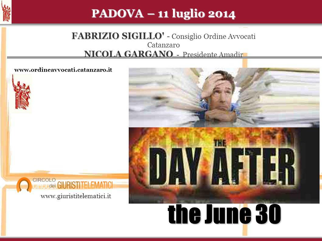 PADOVA – 11 luglio 2014 FABRIZIO SIGILLO - Consiglio Ordine Avvocati Catanzaro NICOLA GARGANO - Presidente Amadir