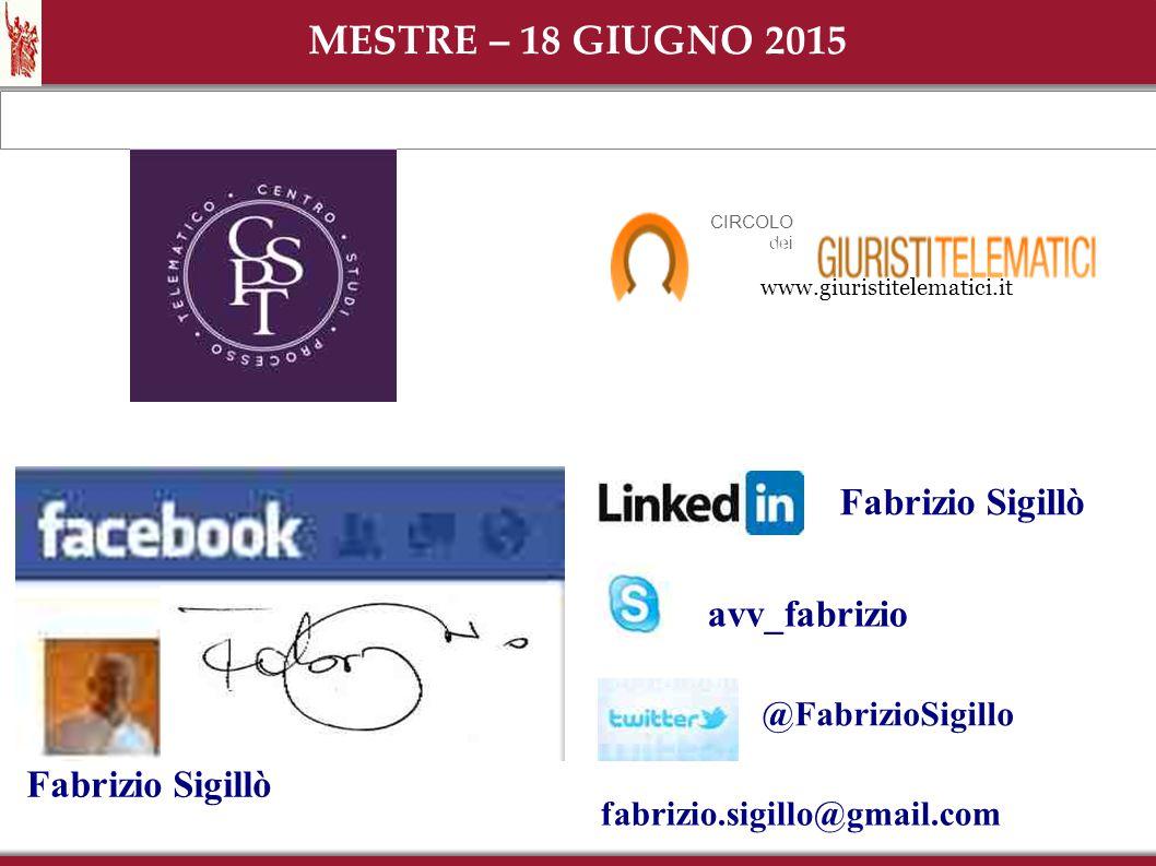 MESTRE – 18 GIUGNO 2015 Fabrizio Sigillò avv_fabrizio Fabrizio Sigillò