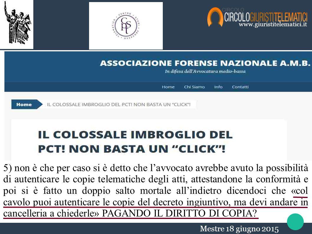 CIRCOLO dei. www.giuristitelematici.it. non possiamo parlare bene o male ma verificare quel che va o che non va.