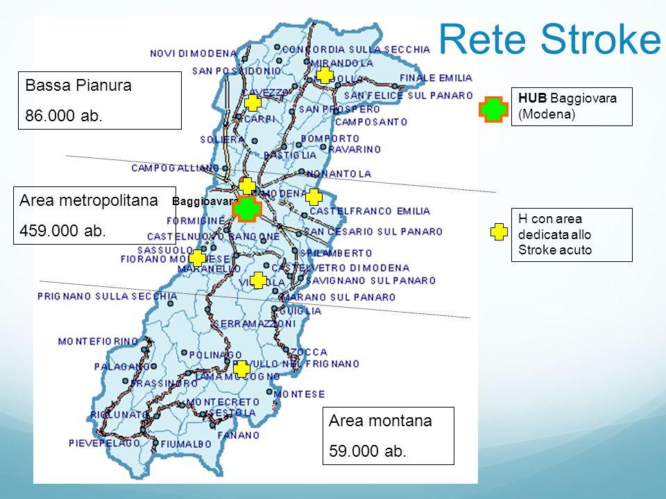 Rete Stroke Bassa Pianura 86.000 ab. Area metropolitana 459.000 ab.