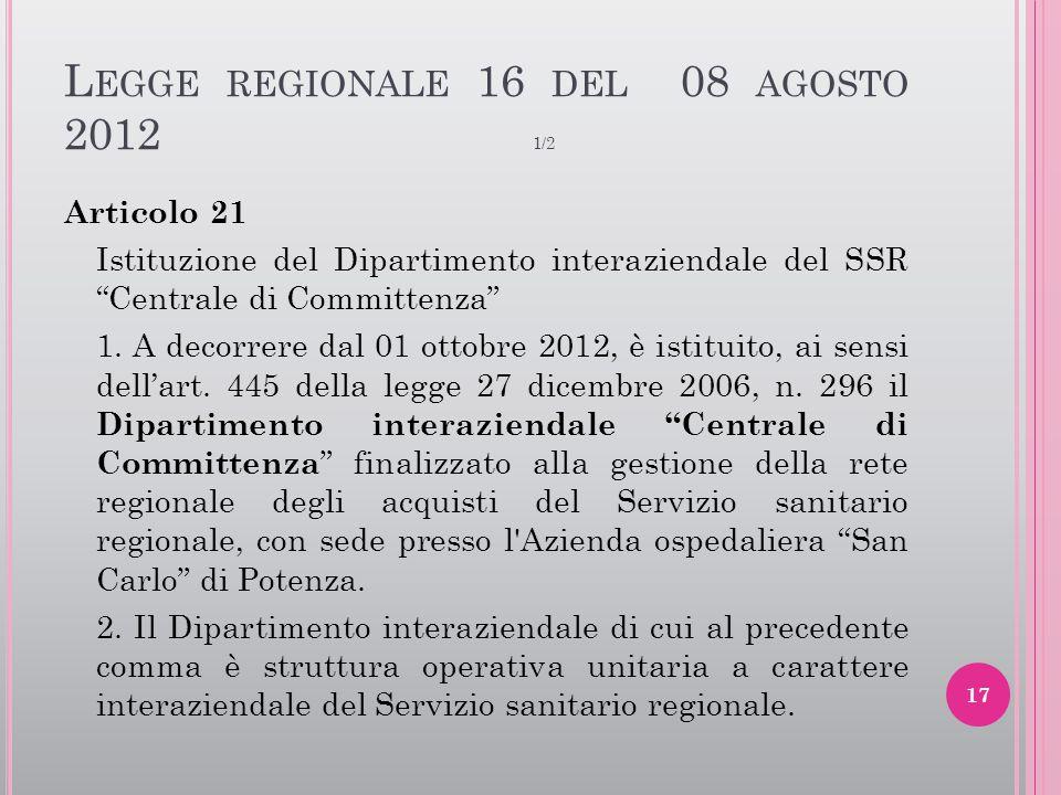 Legge regionale 16 del 08 agosto 2012 1/2