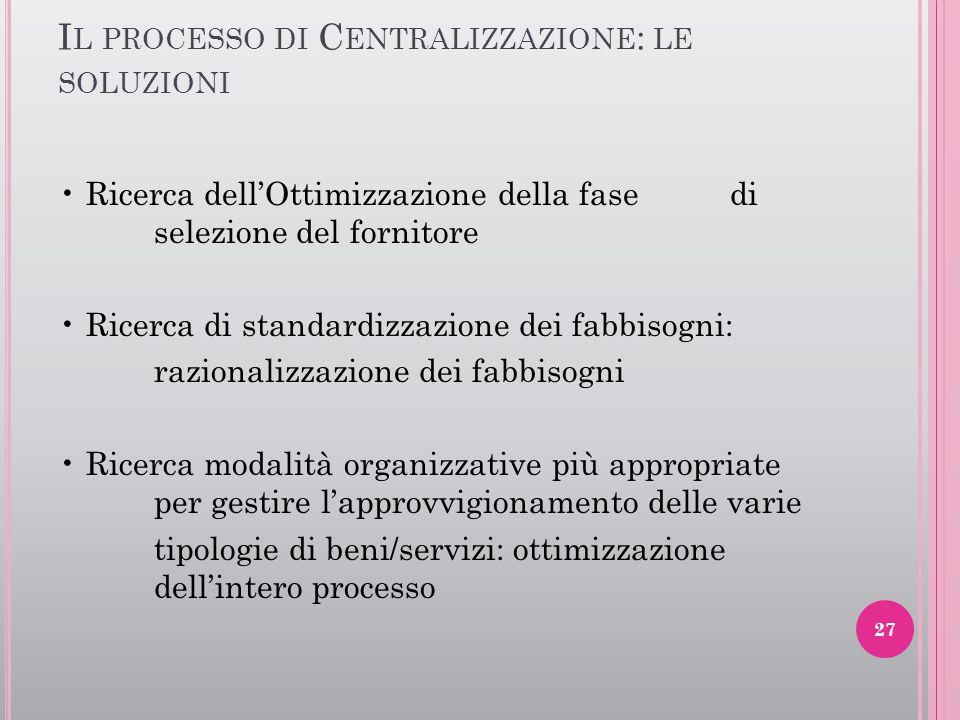 Il processo di Centralizzazione: le soluzioni