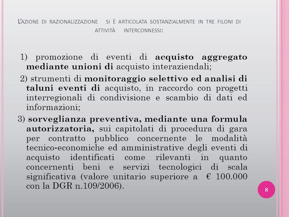 L'azione di razionalizzazione si è articolata sostanzialmente in tre filoni di attività interconnessi: