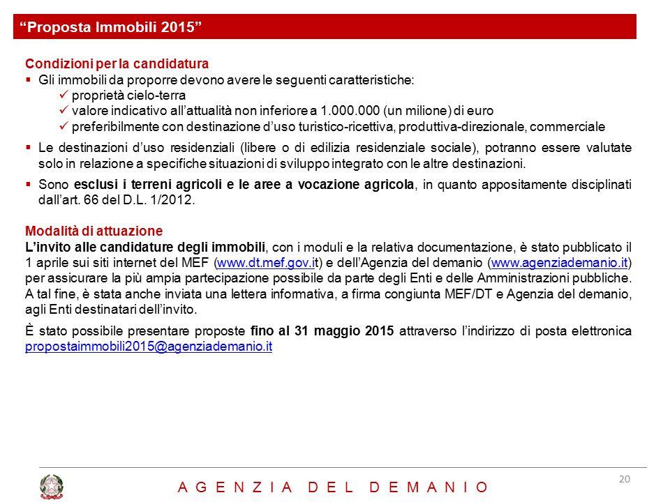 Proposta Immobili 2015 A G E N Z I A D E L D E M A N I O