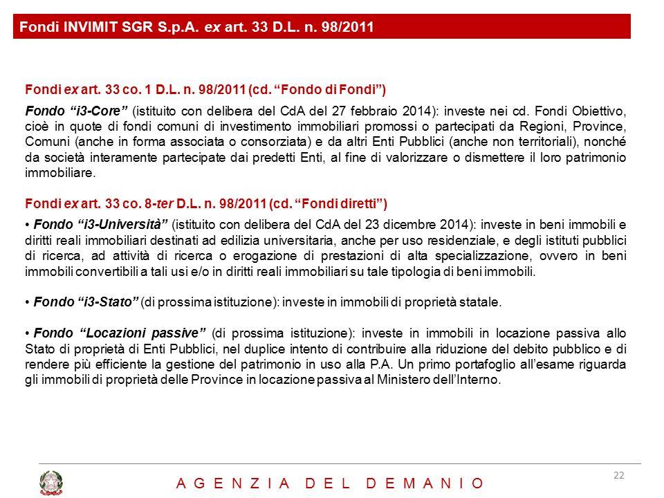 Fondi INVIMIT SGR S.p.A. ex art. 33 D.L. n. 98/2011
