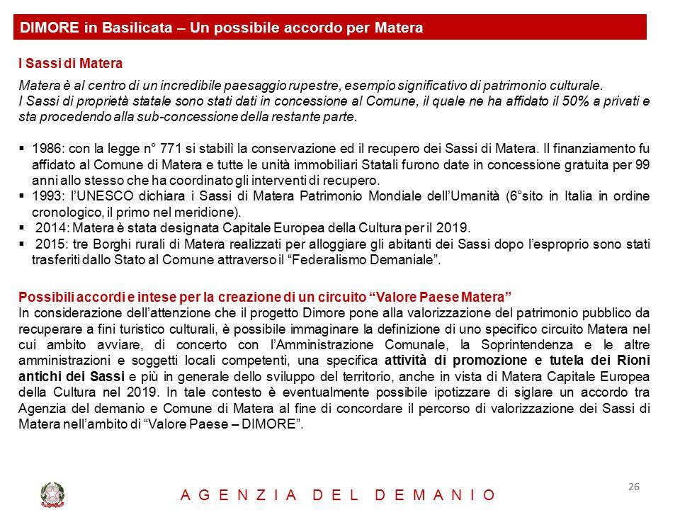 DIMORE in Basilicata – Un possibile accordo per Matera
