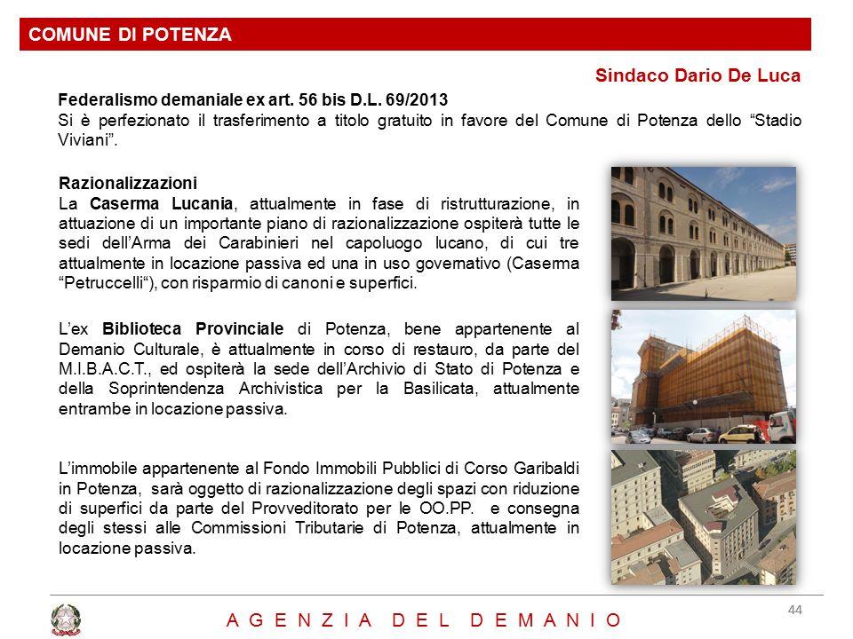 COMUNE DI POTENZA Sindaco Dario De Luca