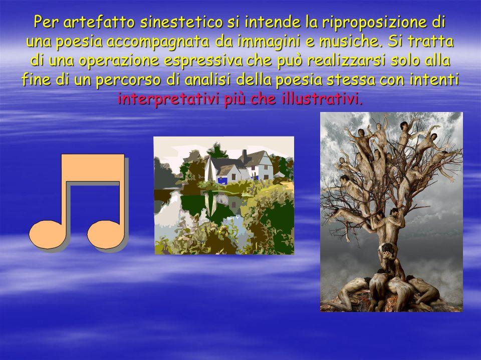 Per artefatto sinestetico si intende la riproposizione di una poesia accompagnata da immagini e musiche.