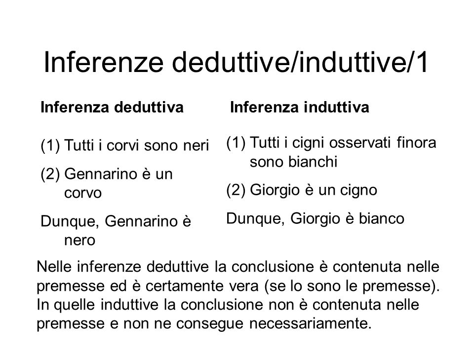 Inferenze deduttive/induttive/1