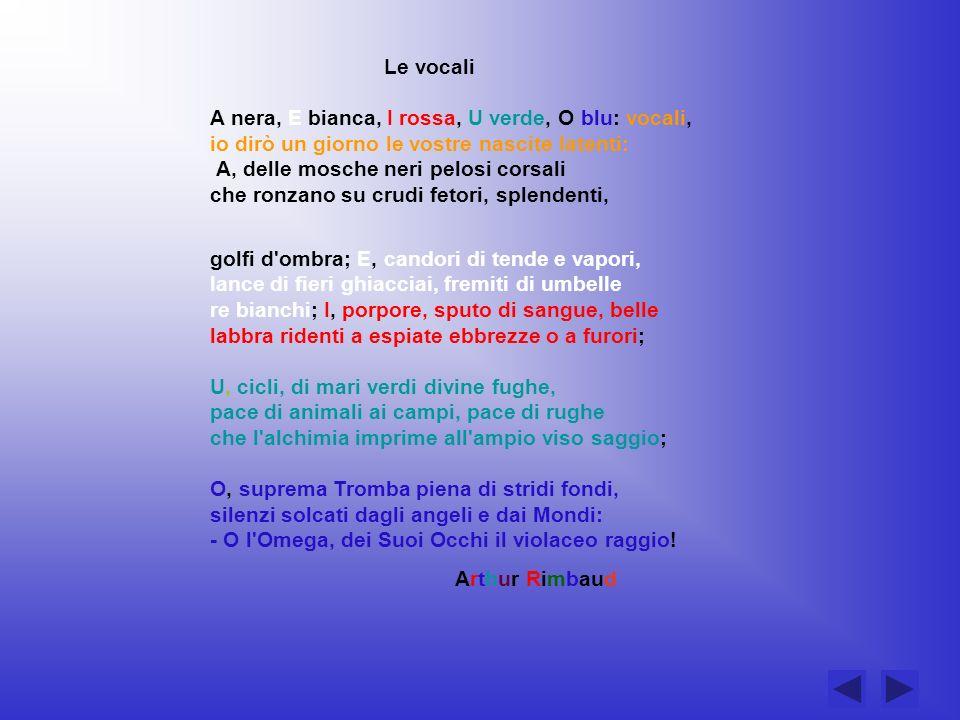 Le vocali A nera, E bianca, I rossa, U verde, O blu: vocali,