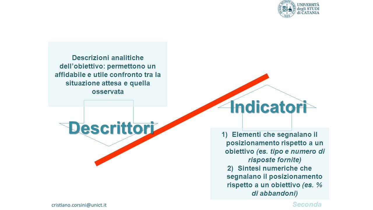 Descrizioni analitiche dell'obiettivo: permettono un affidabile e utile confronto tra la situazione attesa e quella osservata