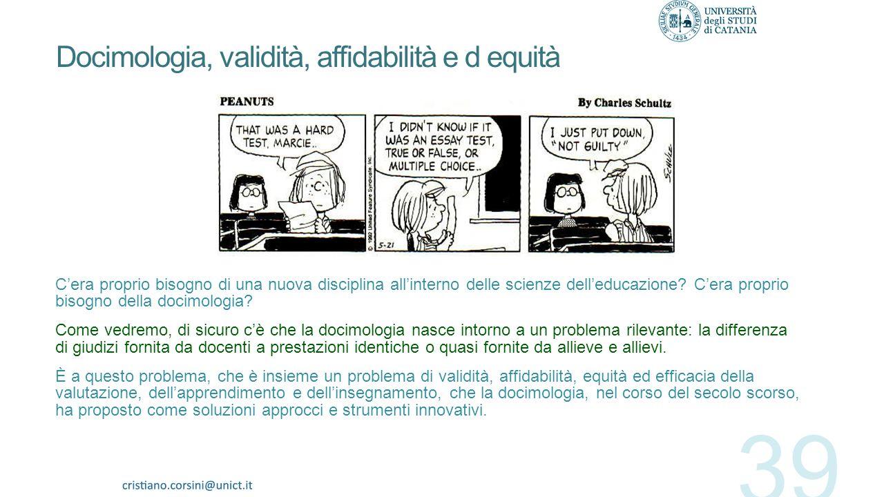 Docimologia, validità, affidabilità e d equità