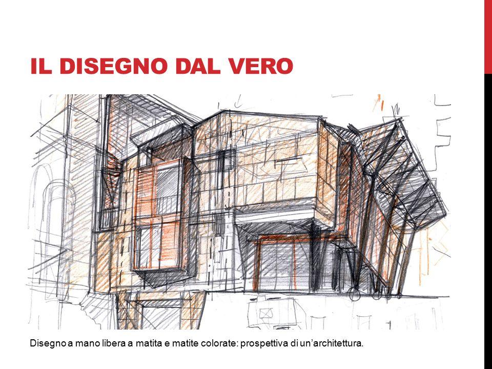 IL DISEGNO dal vero Disegno a mano libera a matita e matite colorate: prospettiva di un'architettura.