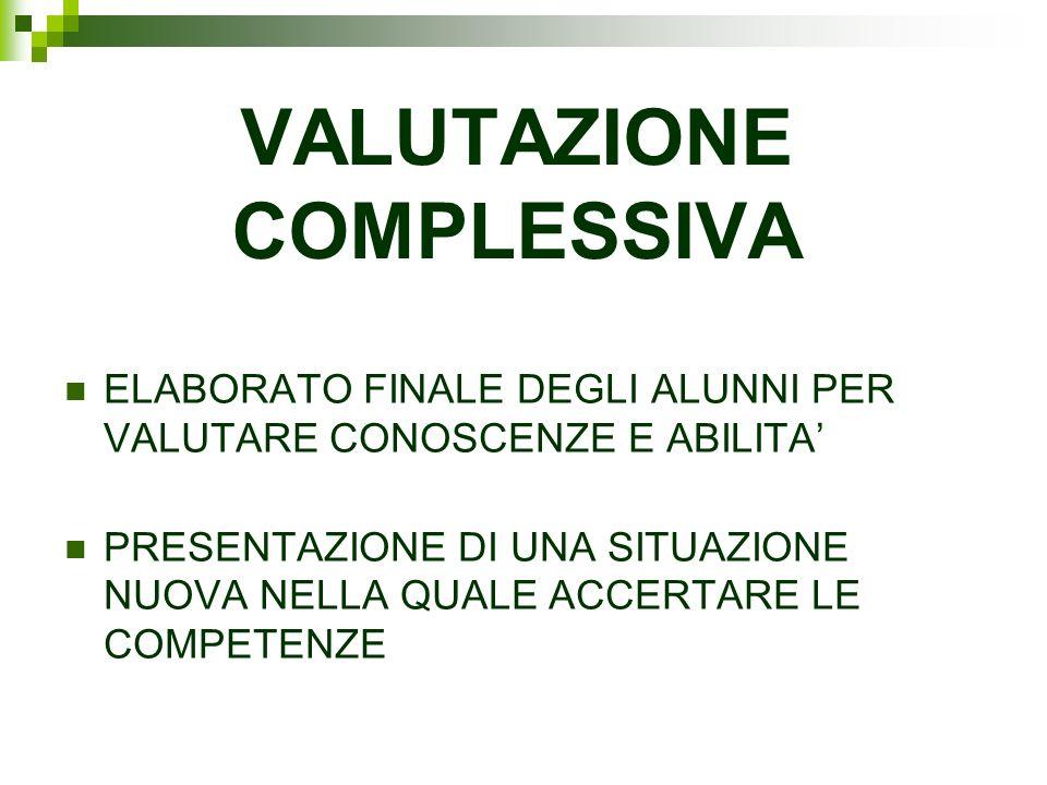 VALUTAZIONE COMPLESSIVA