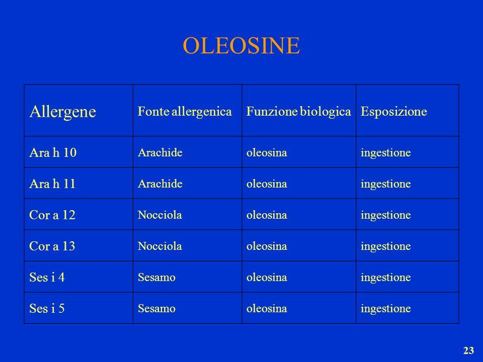 OLEOSINE Allergene Fonte allergenica Funzione biologica Esposizione