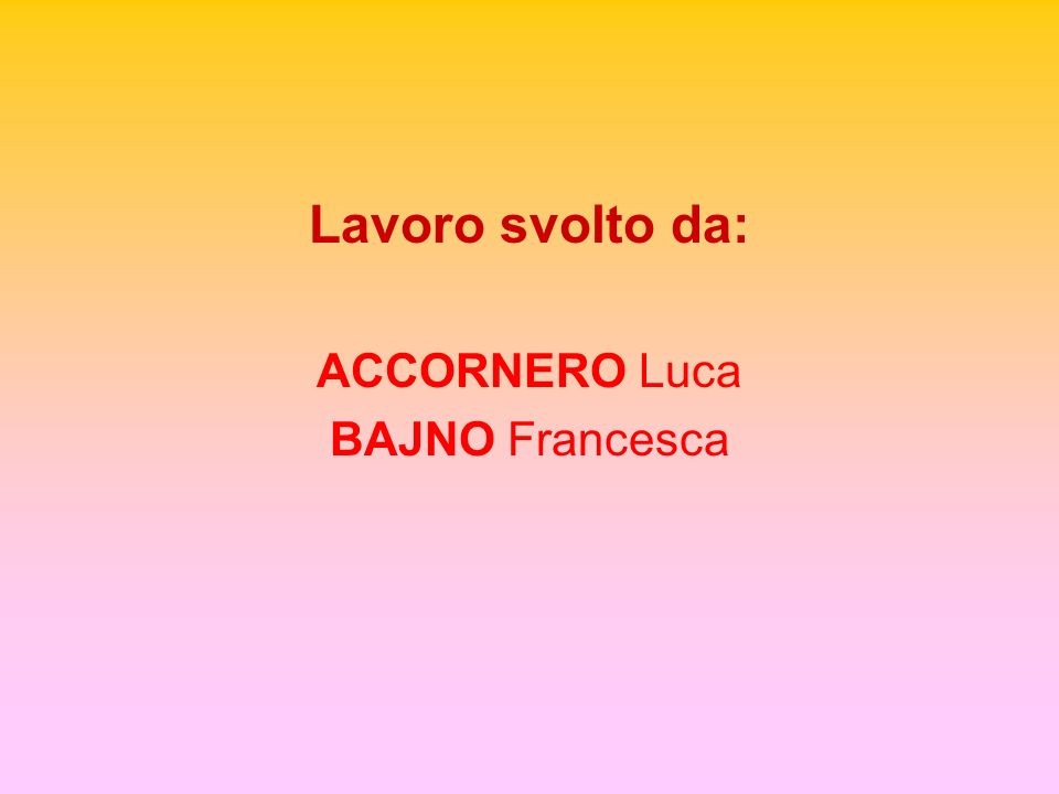 Lavoro svolto da: ACCORNERO Luca BAJNO Francesca