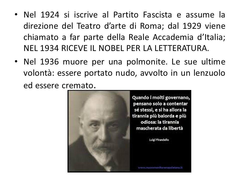 Nel 1924 si iscrive al Partito Fascista e assume la direzione del Teatro d'arte di Roma; dal 1929 viene chiamato a far parte della Reale Accademia d'Italia; NEL 1934 RICEVE IL NOBEL PER LA LETTERATURA.