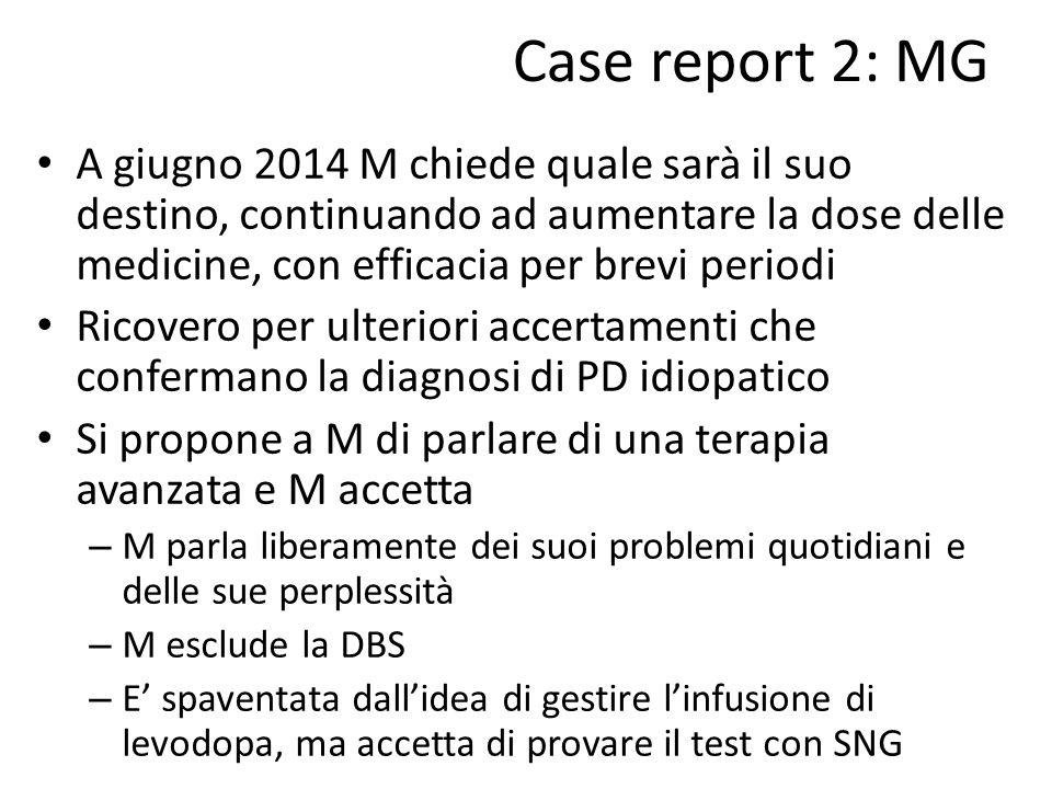 Case report 2: MG A giugno 2014 M chiede quale sarà il suo destino, continuando ad aumentare la dose delle medicine, con efficacia per brevi periodi.