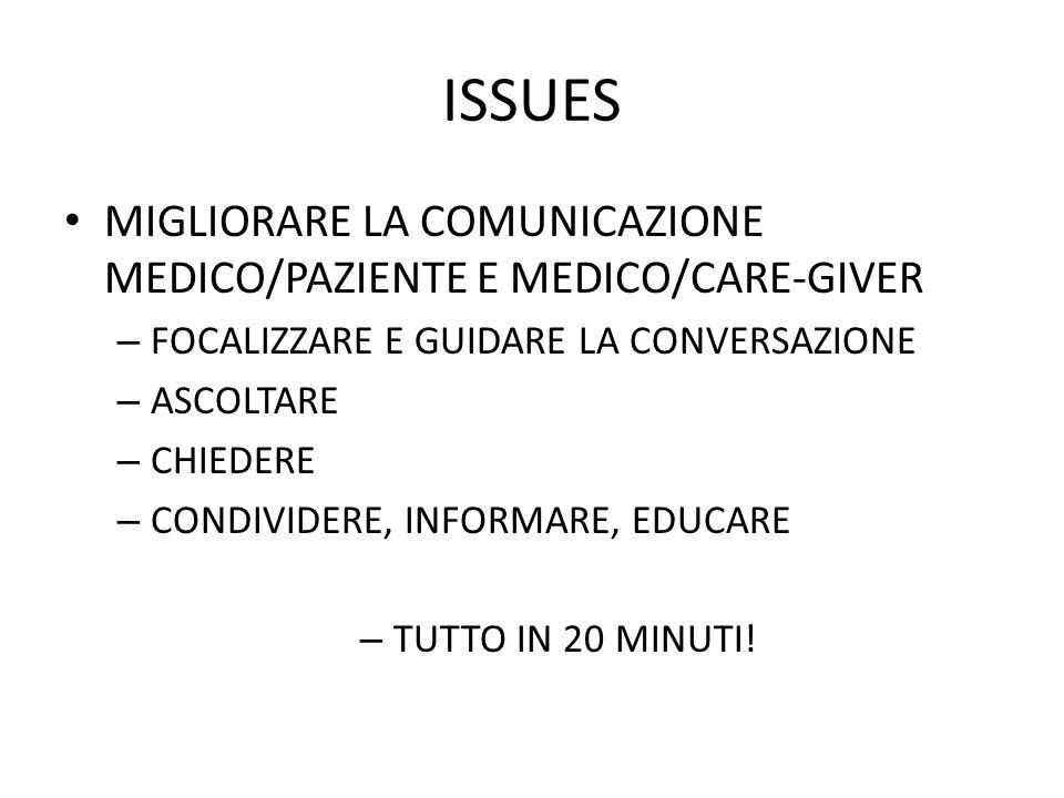 ISSUES MIGLIORARE LA COMUNICAZIONE MEDICO/PAZIENTE E MEDICO/CARE-GIVER