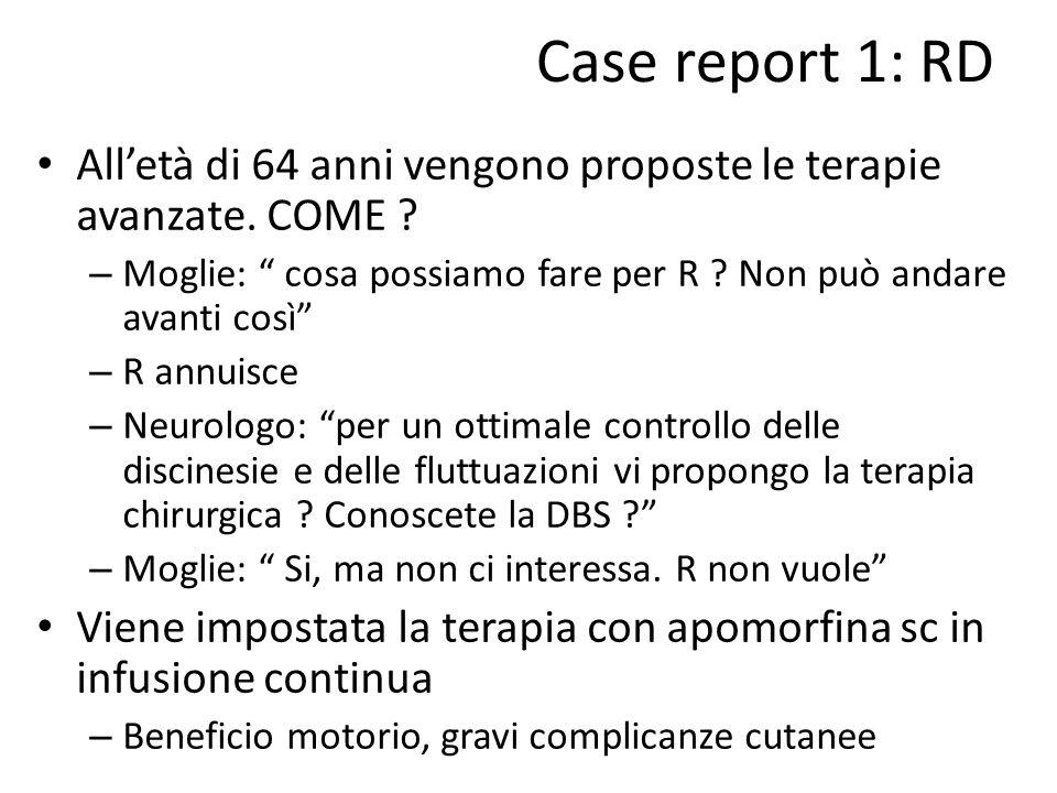 Case report 1: RD All'età di 64 anni vengono proposte le terapie avanzate. COME Moglie: cosa possiamo fare per R Non può andare avanti così