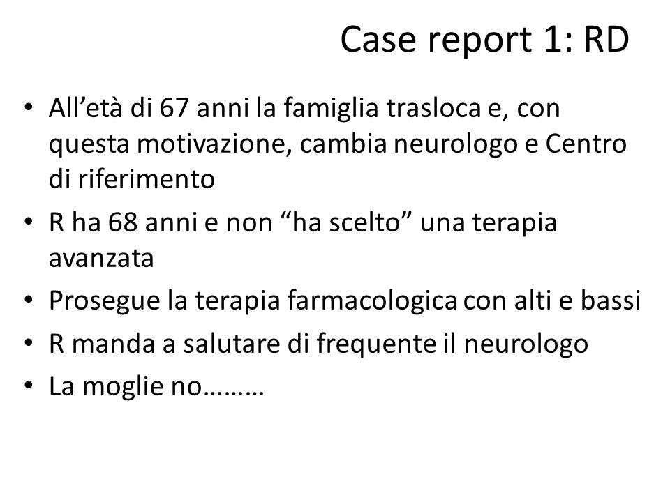 Case report 1: RD All'età di 67 anni la famiglia trasloca e, con questa motivazione, cambia neurologo e Centro di riferimento.