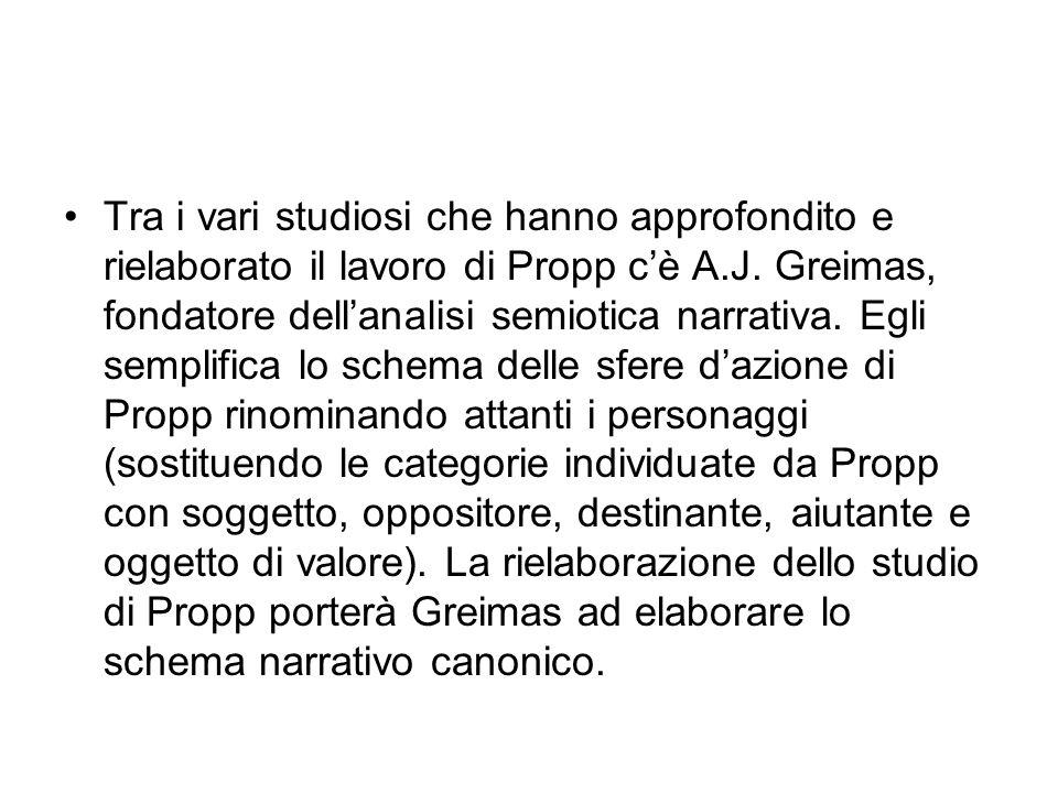 Tra i vari studiosi che hanno approfondito e rielaborato il lavoro di Propp c'è A.J.