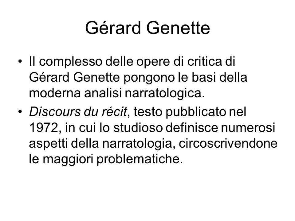 Gérard Genette Il complesso delle opere di critica di Gérard Genette pongono le basi della moderna analisi narratologica.