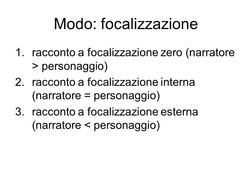 Modo: focalizzazione racconto a focalizzazione zero (narratore > personaggio) racconto a focalizzazione interna (narratore = personaggio)