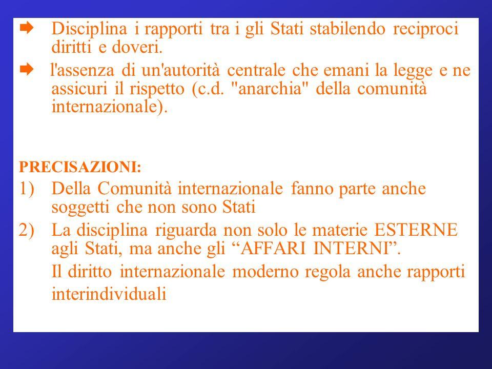 Il diritto internazionale moderno regola anche rapporti