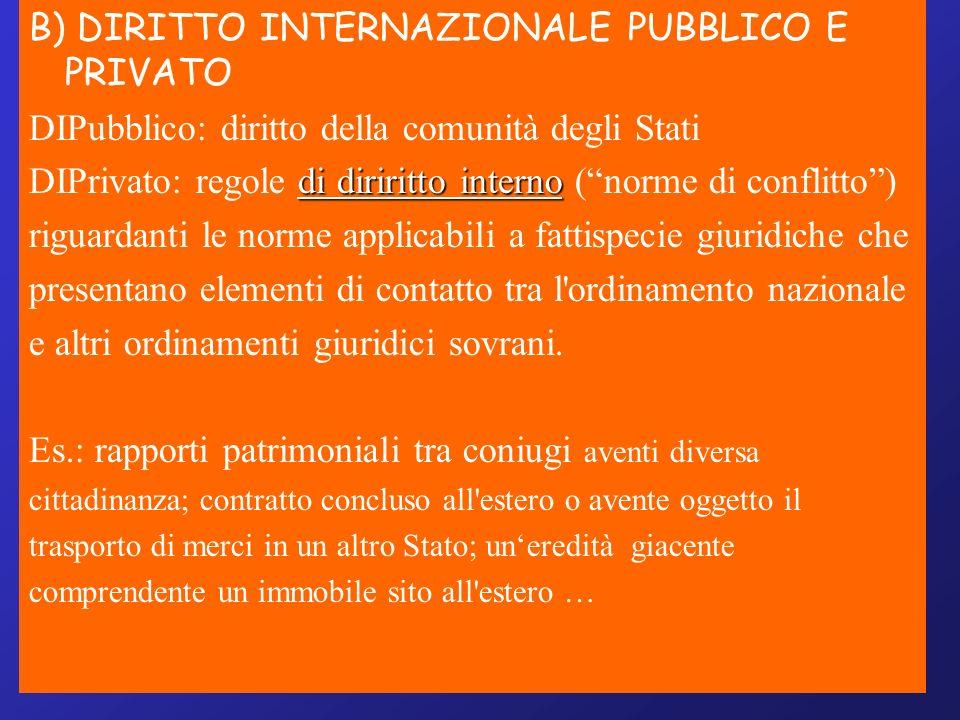 B) DIRITTO INTERNAZIONALE PUBBLICO E PRIVATO