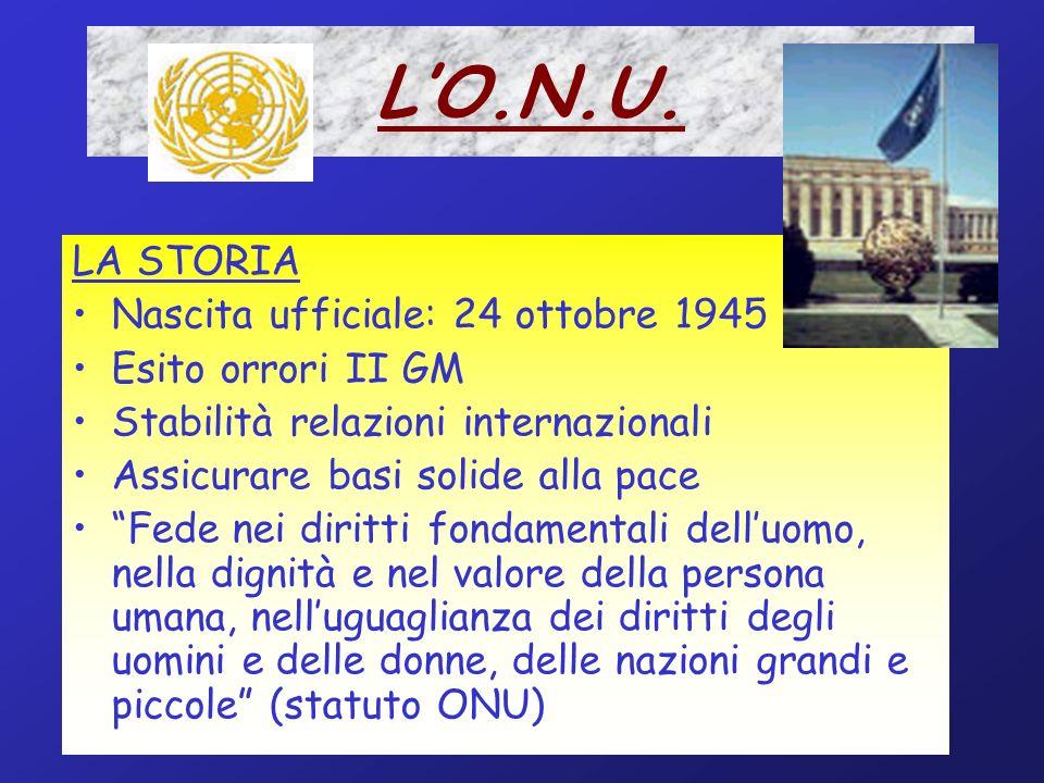 L'O.N.U. LA STORIA Nascita ufficiale: 24 ottobre 1945