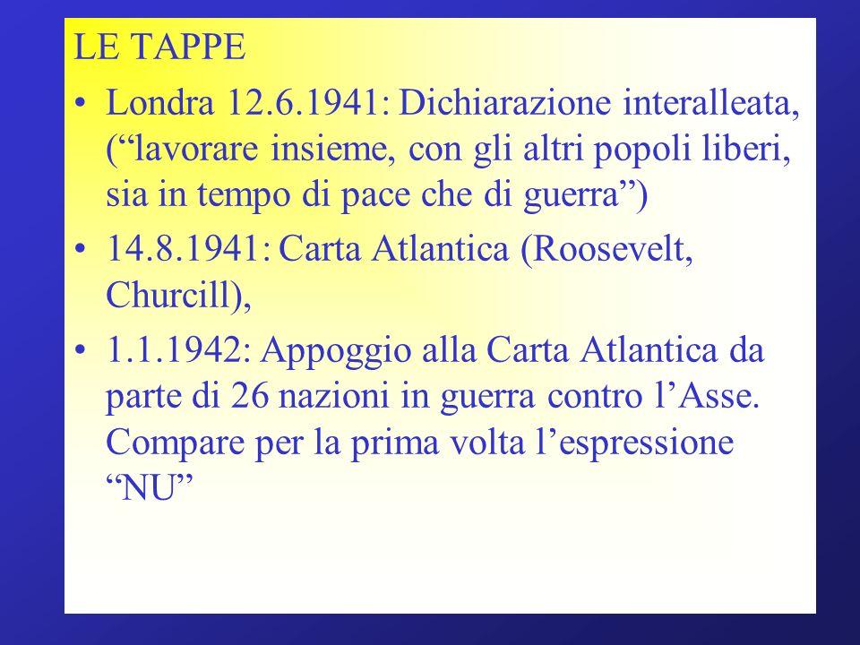 LE TAPPE Londra 12.6.1941: Dichiarazione interalleata, ( lavorare insieme, con gli altri popoli liberi, sia in tempo di pace che di guerra )