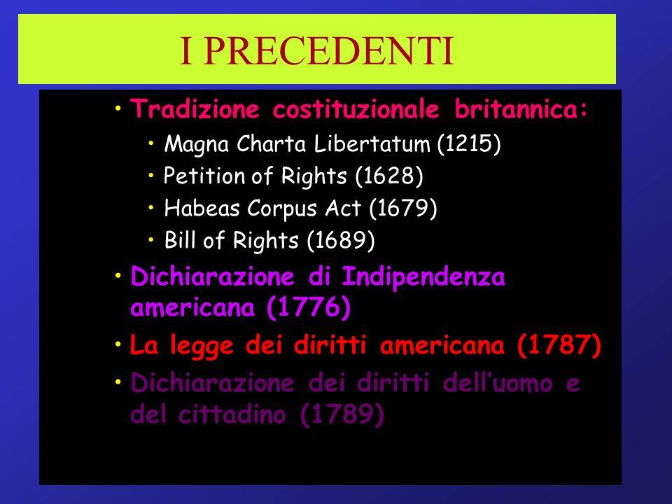 I PRECEDENTI Tradizione costituzionale britannica: