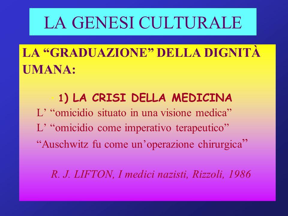 LA GENESI CULTURALE LA GRADUAZIONE DELLA DIGNITÀ UMANA: