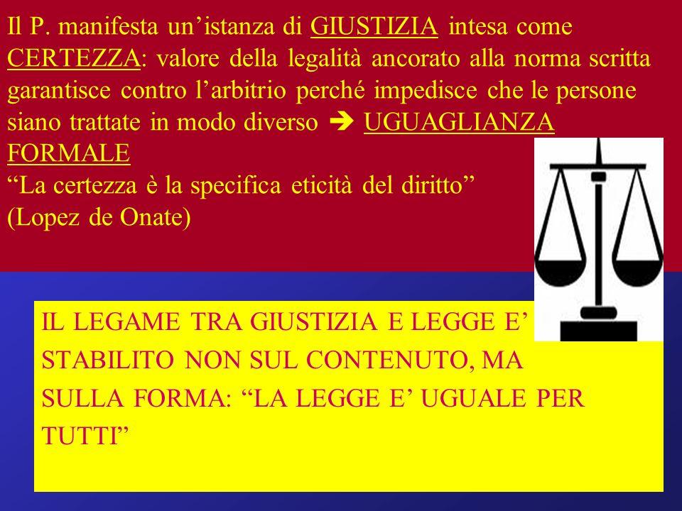 Il P. manifesta un'istanza di GIUSTIZIA intesa come CERTEZZA: valore della legalità ancorato alla norma scritta garantisce contro l'arbitrio perché impedisce che le persone siano trattate in modo diverso  UGUAGLIANZA FORMALE La certezza è la specifica eticità del diritto (Lopez de Onate)