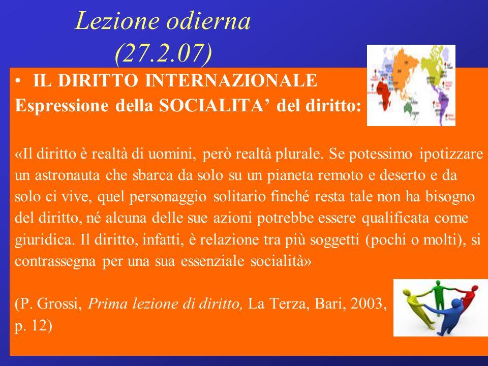Lezione odierna (27.2.07) IL DIRITTO INTERNAZIONALE