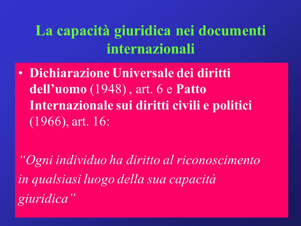 La capacità giuridica nei documenti internazionali