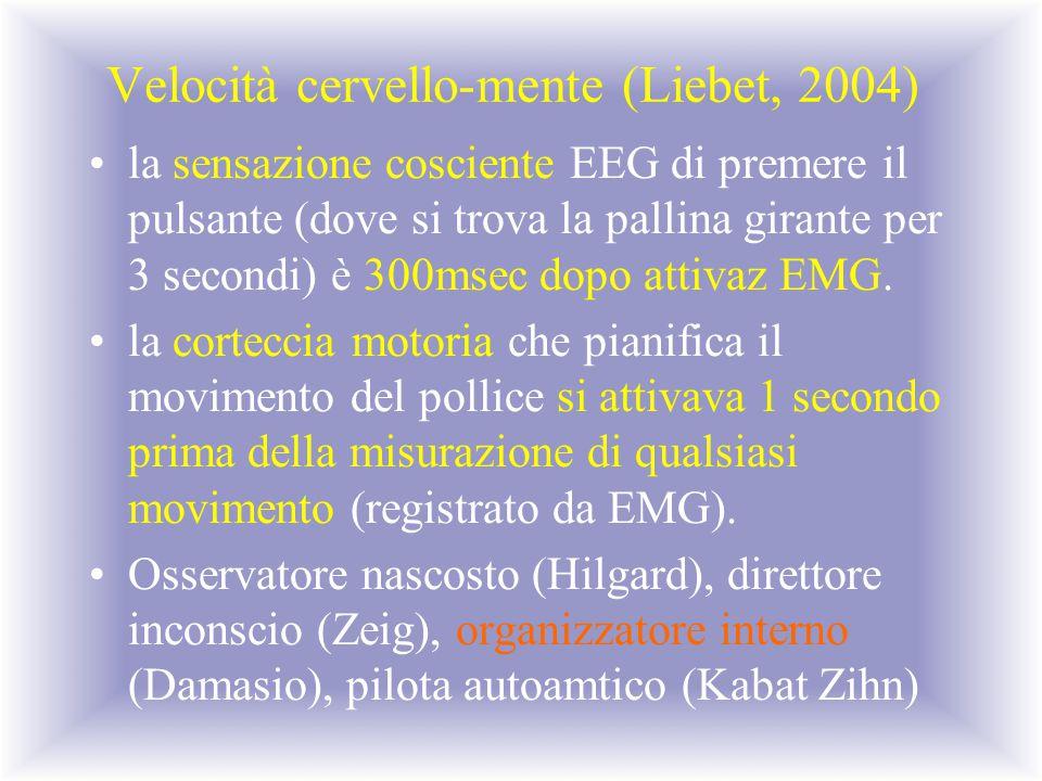 Velocità cervello-mente (Liebet, 2004)