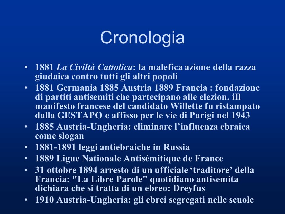 Cronologia 1881 La Civiltà Cattolica: la malefica azione della razza giudaica contro tutti gli altri popoli.