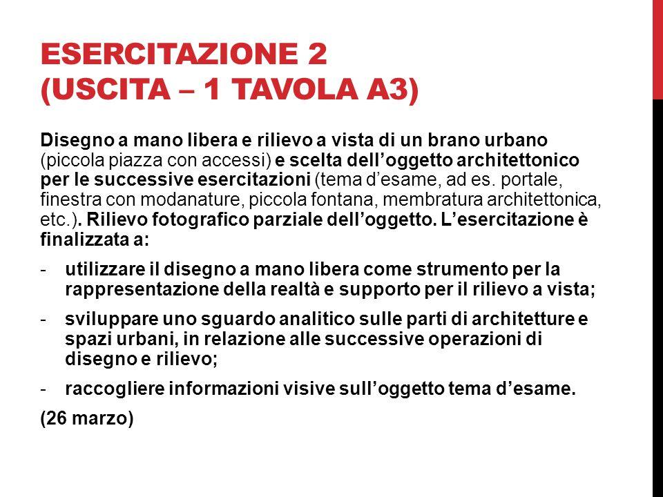 Esercitazione 2 (uscita – 1 tavola A3)
