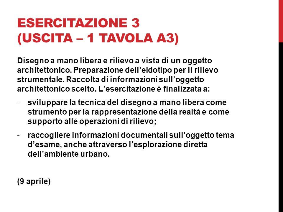 Esercitazione 3 (uscita – 1 tavola A3)
