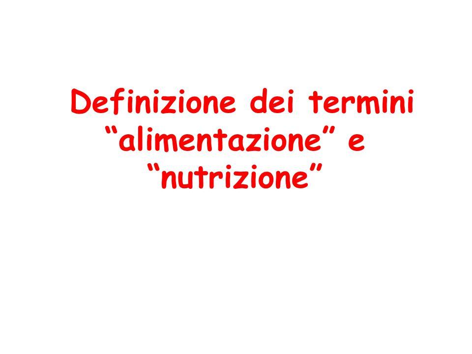 Definizione dei termini alimentazione e nutrizione