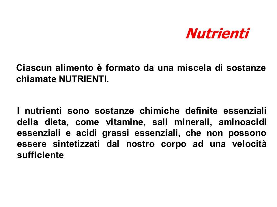 Nutrienti Ciascun alimento è formato da una miscela di sostanze chiamate NUTRIENTI.
